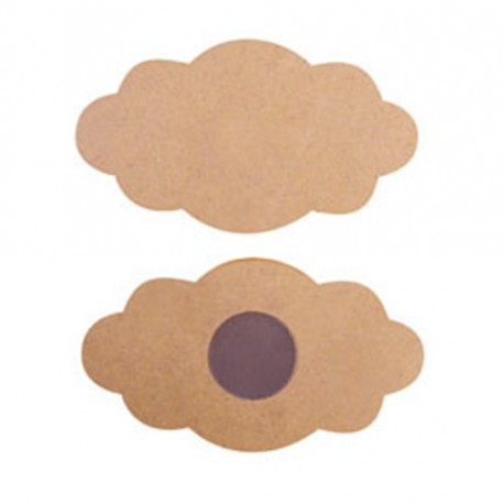 SET 2 NUVOLETTE IN MDF CON MAGNETE DA DECORARE CM 10X5,5 H